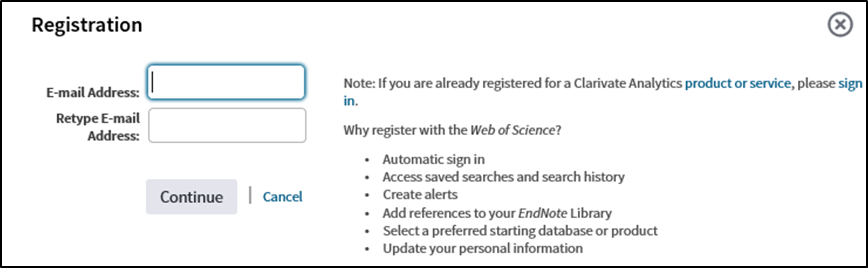 screen shot of Endnote registration form