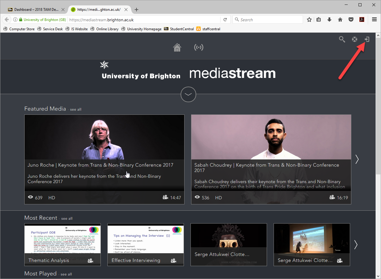 Screenshot of the login page for mediastream