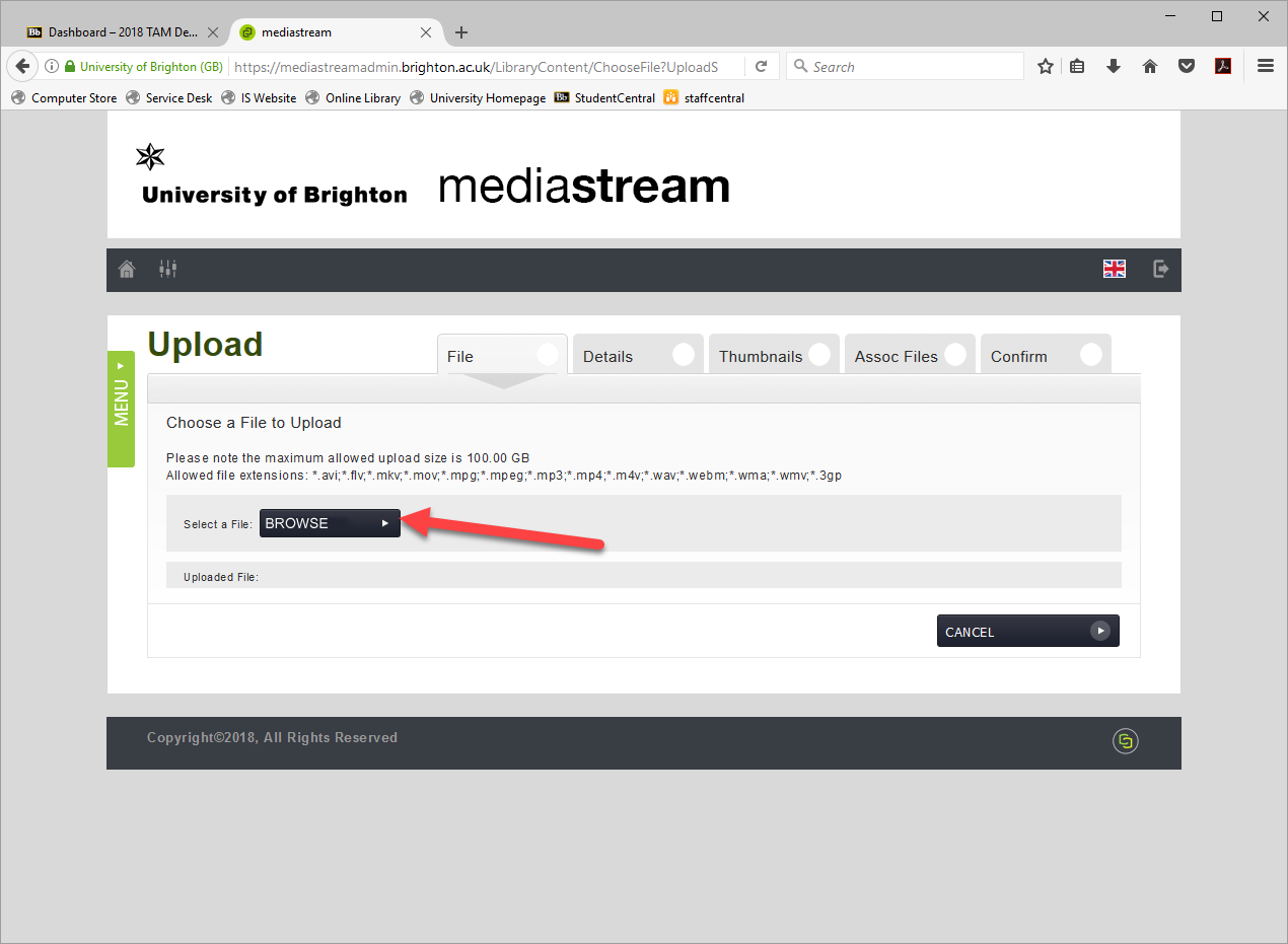 Screenshot showing the Browse button for upload