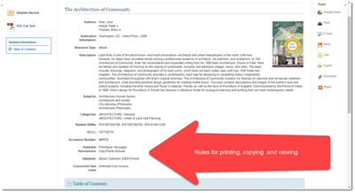 screenshot showing how to check ebook print  copy or use rights at bottom of page when in ebook title