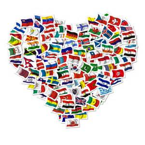 Heart image composed of multinational flags