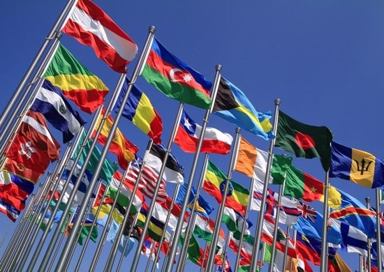Photograph of a group of international flags