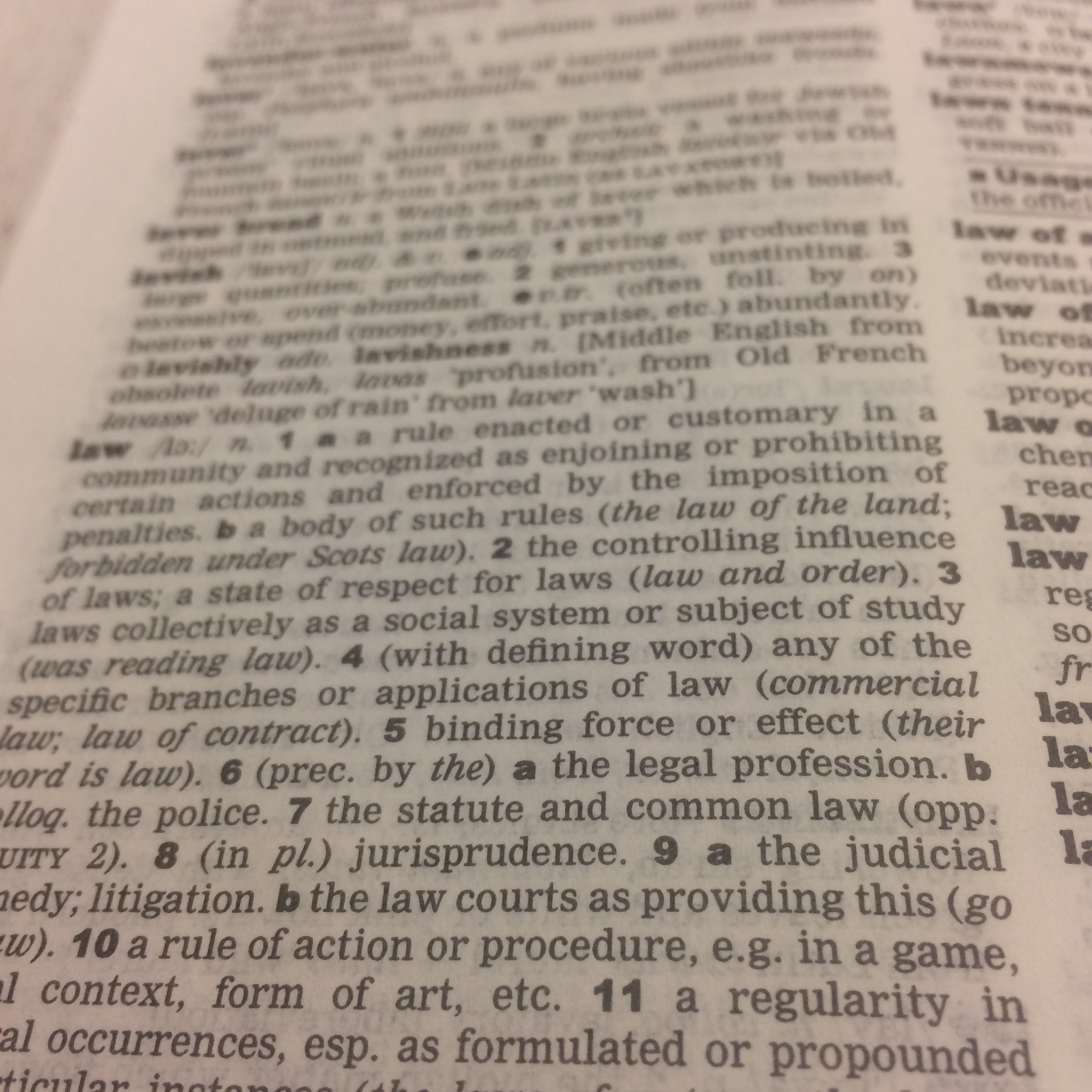 "An image of the text for the ""law"" entry in a dictionary fading into the distance"