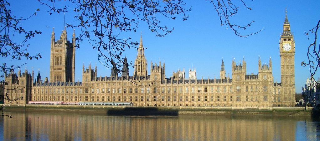 Photo of the Palace of Westminster, with a blue sky behind and the River Thames and some tree branches in the foreground.