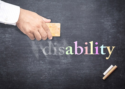 image of  hand erasing the dis from disability