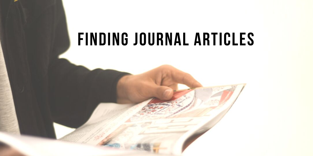 Photograph of person reading a journal which links to information on finding journal articles