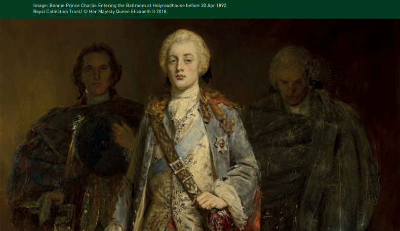 Painting of Bonnie Prince Charlie entering the ballroom at Holyrood House before 30th April 1892.