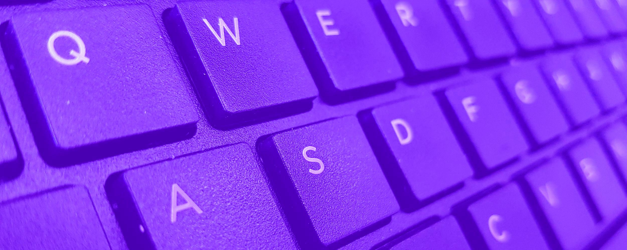 Keyboard coloured purple