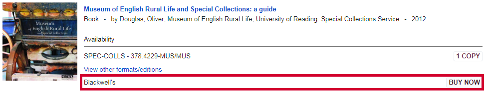 Screenshot of online Reading List item not available from Blackwell