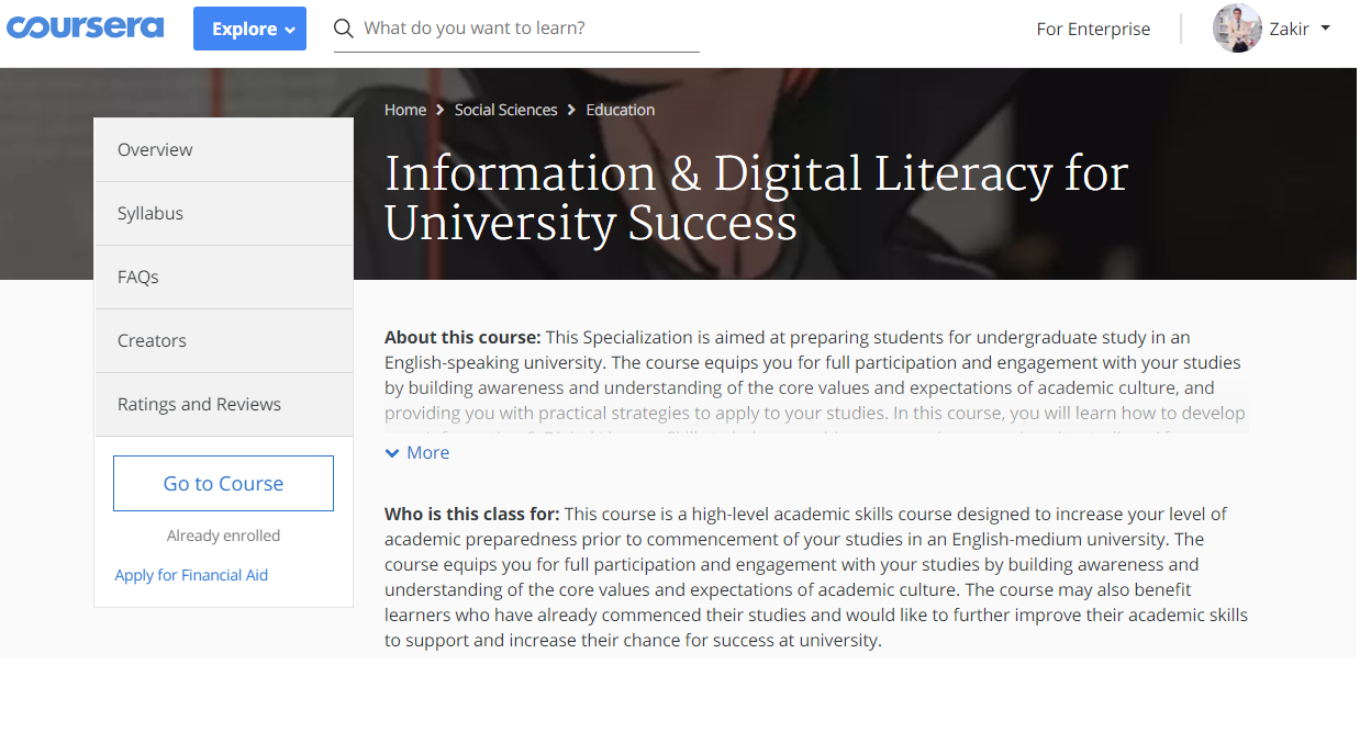 Information & Digital Literacy for University Success
