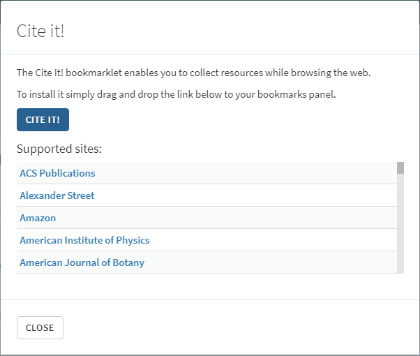 Cite it! bookmarklet popup