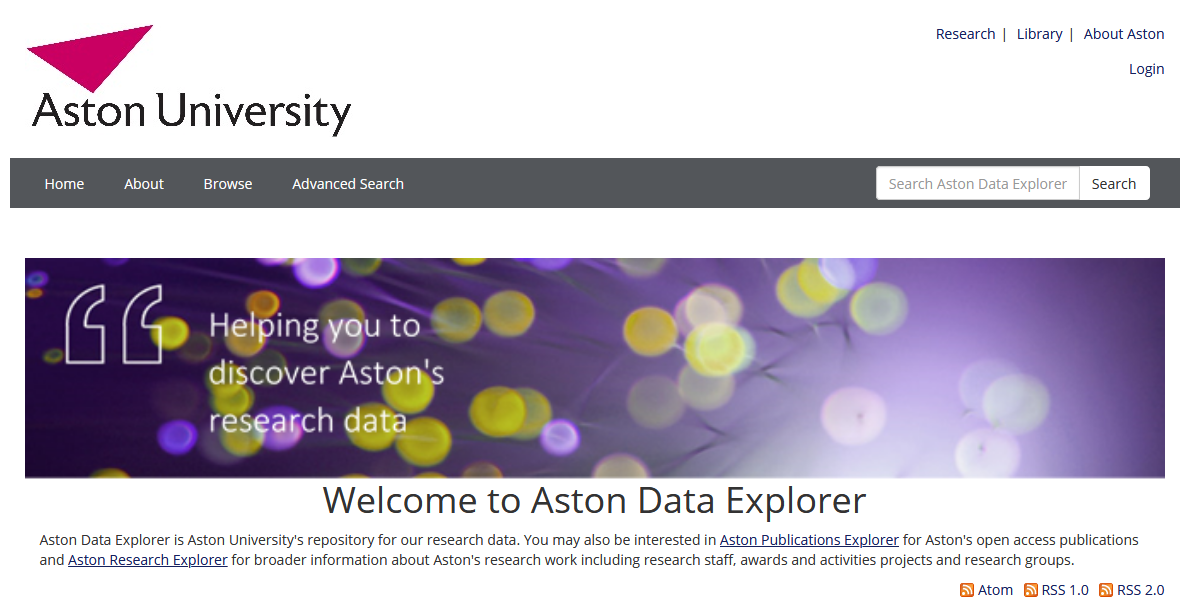 Aston Data Explorer front page