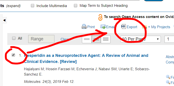 Select articles in Medline then click Export