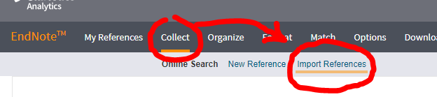 Click Collect, then Import References