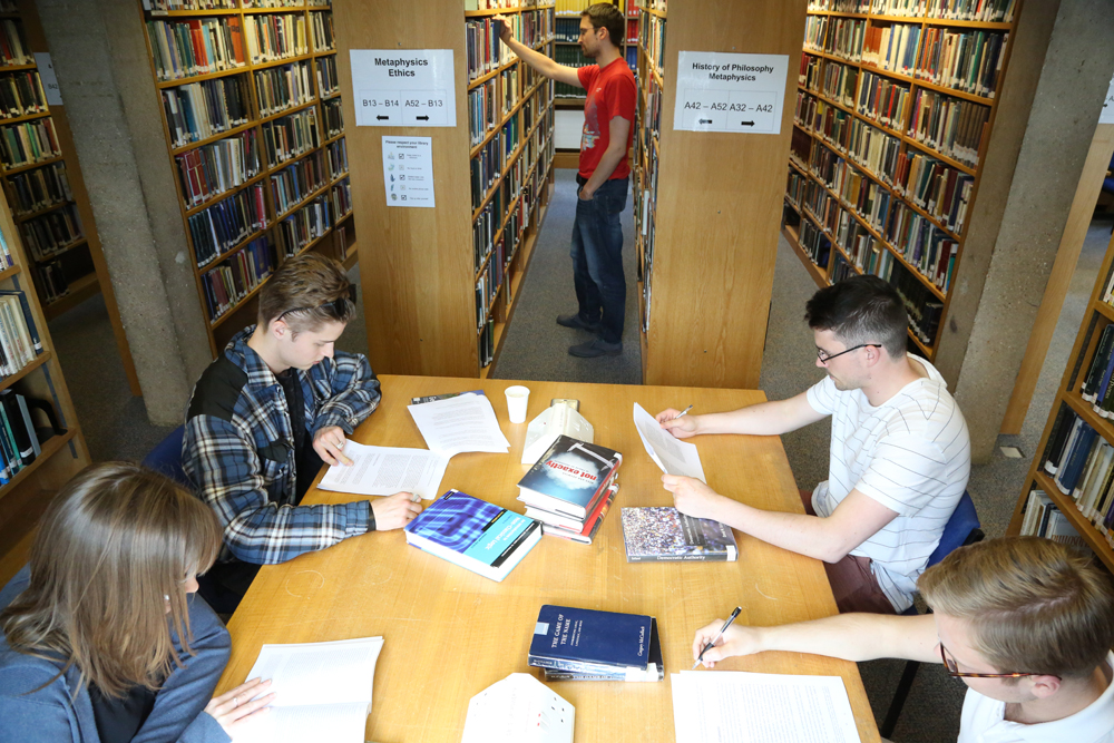 Group studying in library