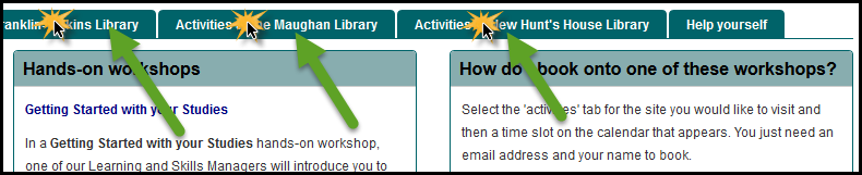 Screenshot of activities tab used to access calendars