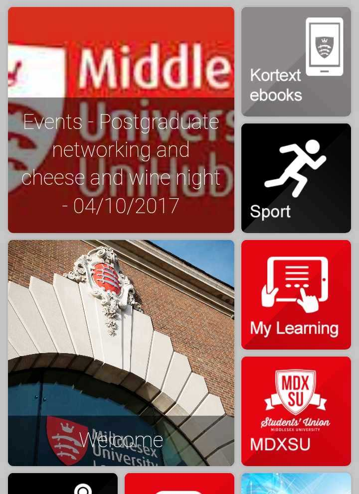 Middlesex University app blocks as they appear on a mobile phone
