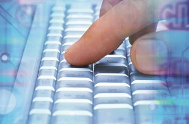 Image of finger on keyboard