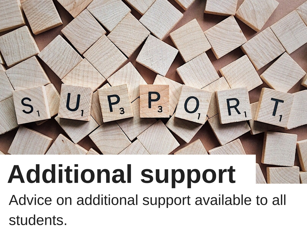 Additional support: advice on additional support available to all students