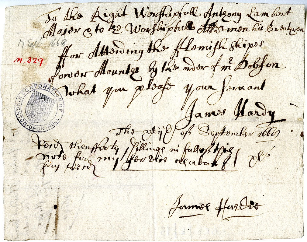 Receipt for payment of expenses, September 1668