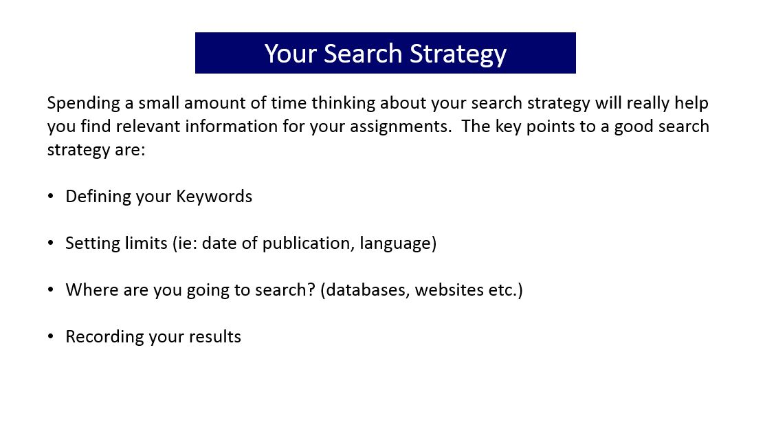 Slide with information about a search strategy. Click on the image for a document containing the full text of all the slides in the gallery of images.