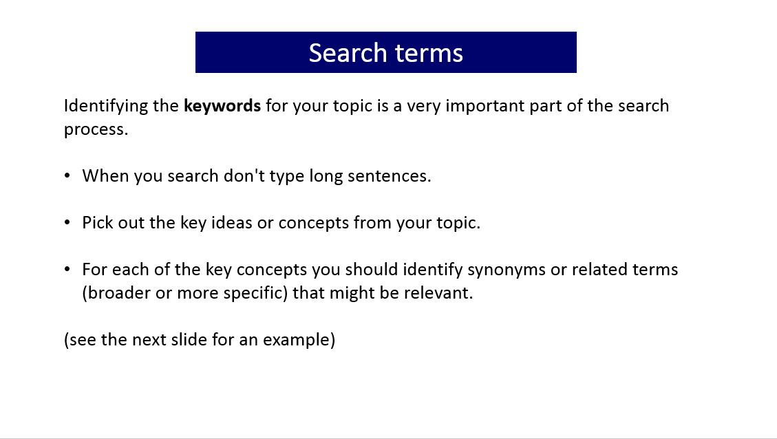 Slide with information about search terms. Click on the image for a document containing the full text of all the slides in the gallery of images.