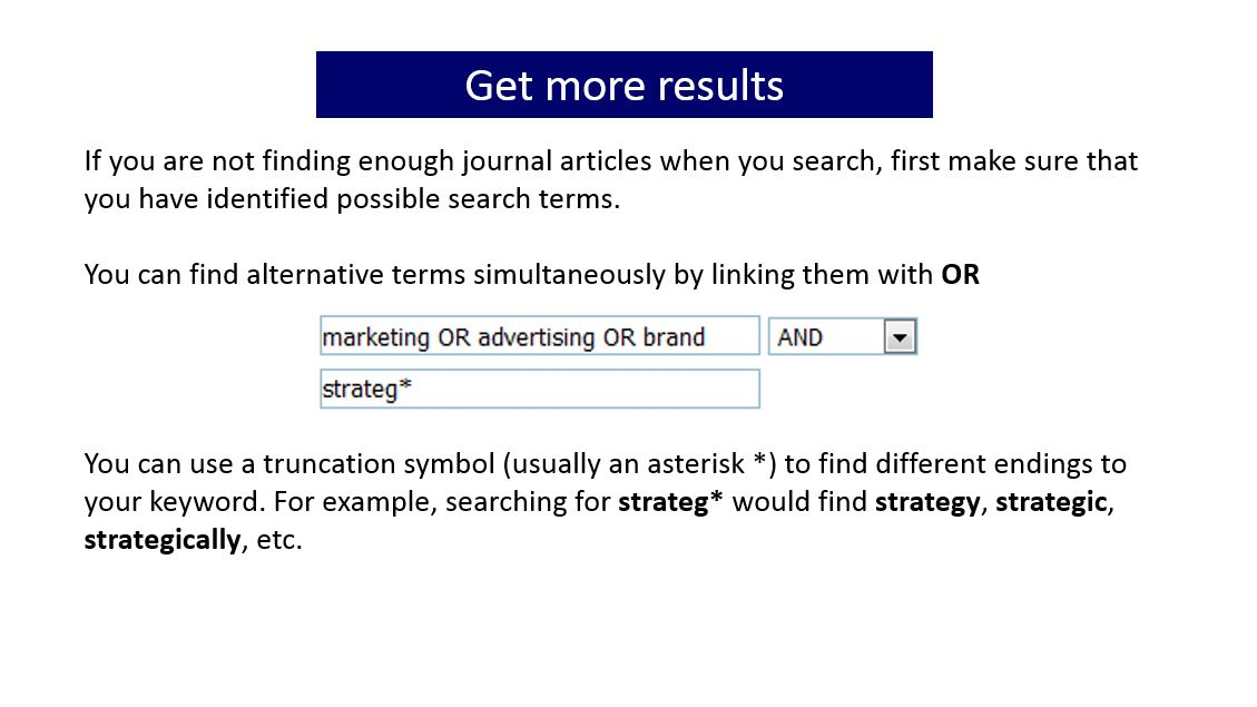 Slide with information about getting more results. Click on the image for a document containing the full text of all the slides in the gallery of images.