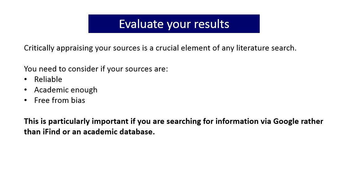 Slide with information about evaluating your results. Click on the image for a document containing the full text of all the slides in the gallery of images.