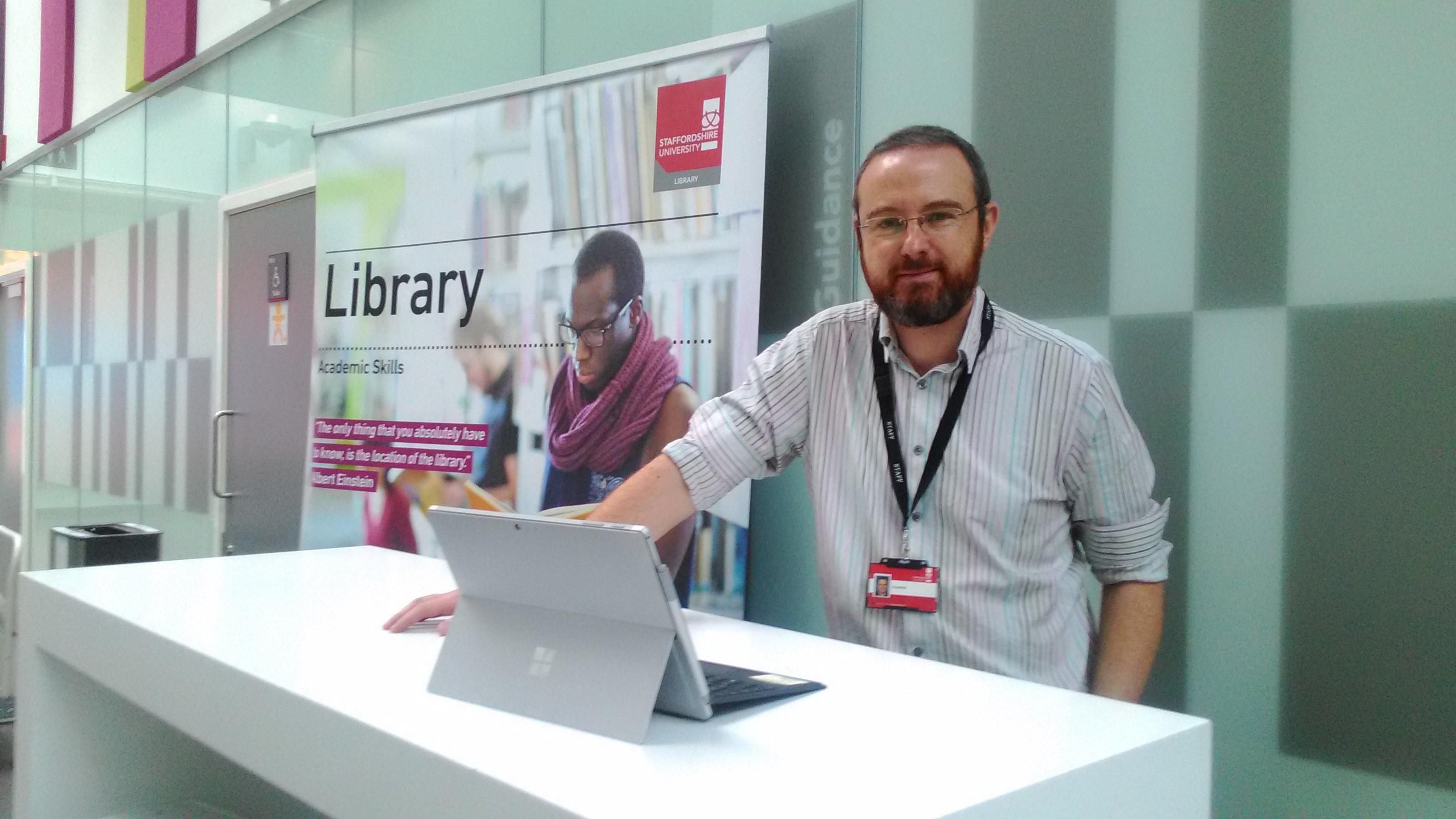 Photos of Library staff n the Student Hub