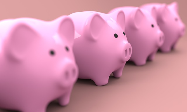 A row of pink piggy banks