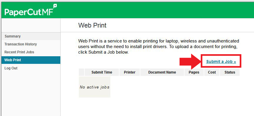 Choose submit a job link on the screen