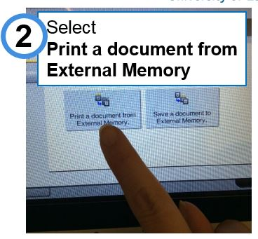 Select 'Print a document from external memory'