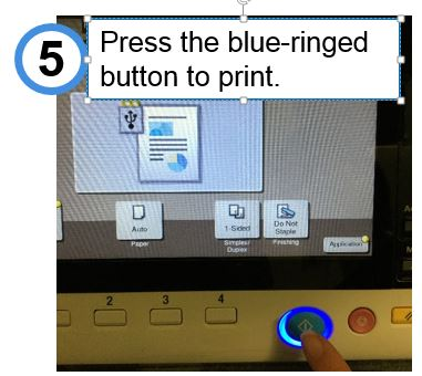 Press the blue-ringed button to print