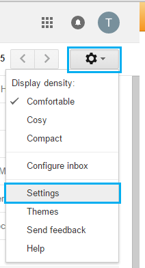 Gmail forward click gear icon