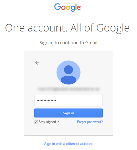 Gmail login enter password
