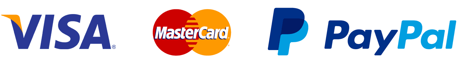 Logo of Visa, Mastercard and Paypal