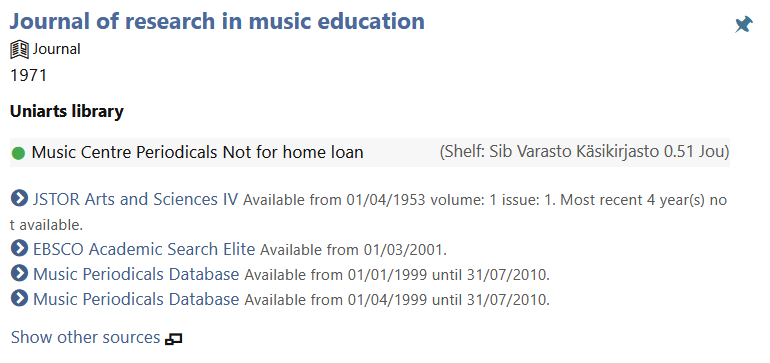 Picture from library database Arsca. A search result of Journal of research in music education and its availability.