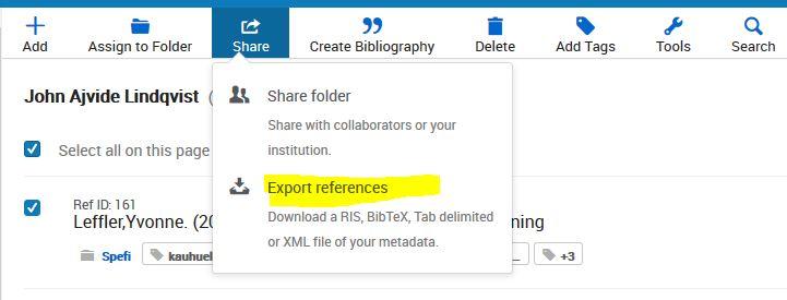 Skärmdump av RefWorks Export 1