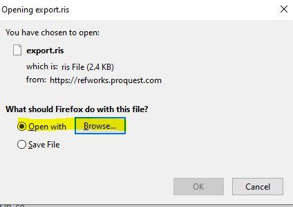 Skärmdump av RefWorks Export 3