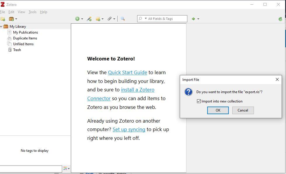 Skärmdump från Zotero