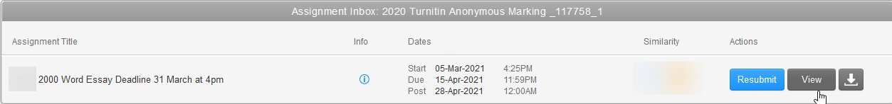 Screenshot showing a mouse cursor pointing to the 'view' button in Turnitin after submission.