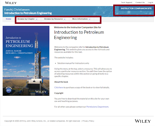 wiley instruction companion site interface