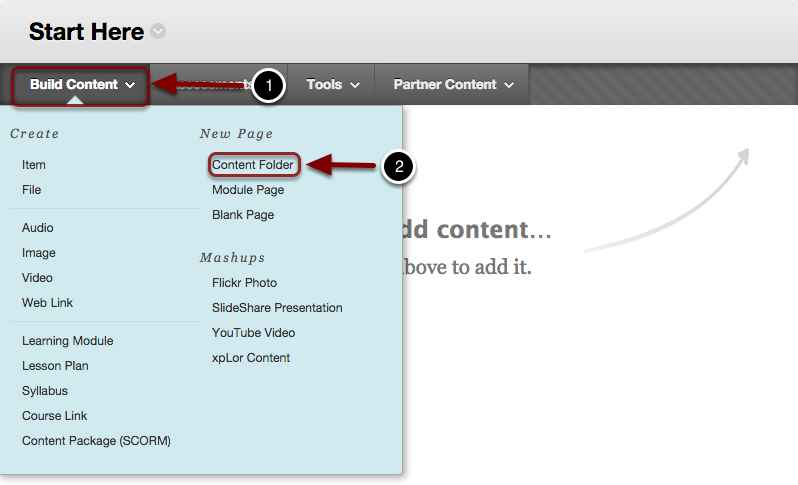 "alt=""Image of the Build Content Menu with Build Content highlighted with a #1 and Content Folder highlghted with a #2"""