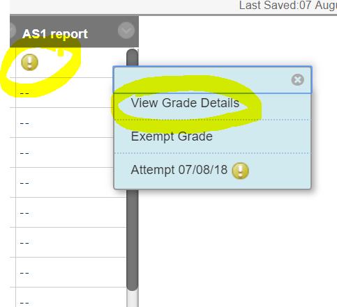 Select View Grade Details