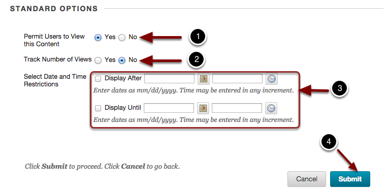 Image of the section labeled Standard Options with the following annotations: 1.Permit Users to View this Content: Select Yes to allow students to view the web link.2.Track Number of Views: Select Yes to record the number of times students view the link.3.Select Date and Time Restrictions: Use the date and time pickers for the Display After and Display Until dates to restrict the time period in which students can view the content. 4. When finishec, click the Submit button to create the web link