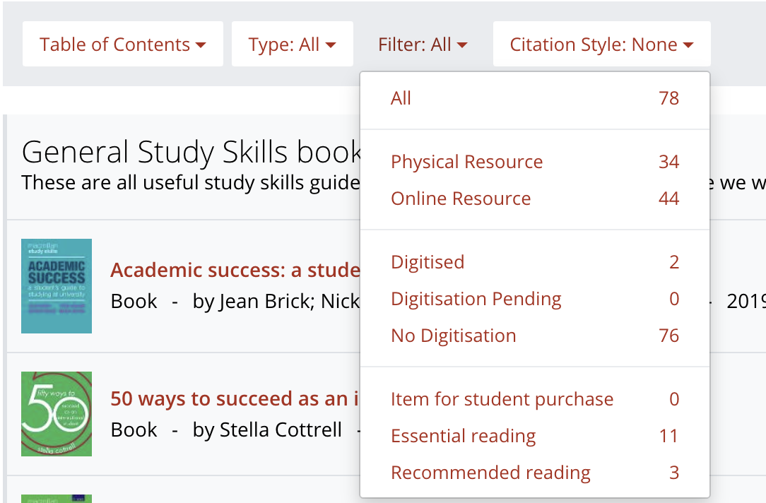 Screenshot of Reading Lists Online with Table of content, Type and Filter drop down menu. Under Filter drop down menu you can refine references to items with embedded digitised extracts, and items still waiting for scanned document.