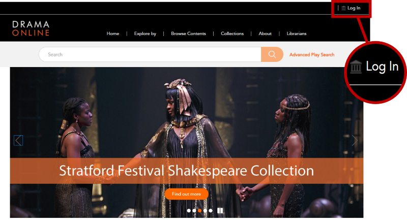 The Drama Online homepage focussing on the login link in the top right hand corner.
