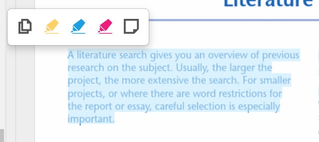 Screenshot of a section of text selected, the notes and annotations widget appears which includes copy, yellow highlight, blue highlight, pink highlight and note.