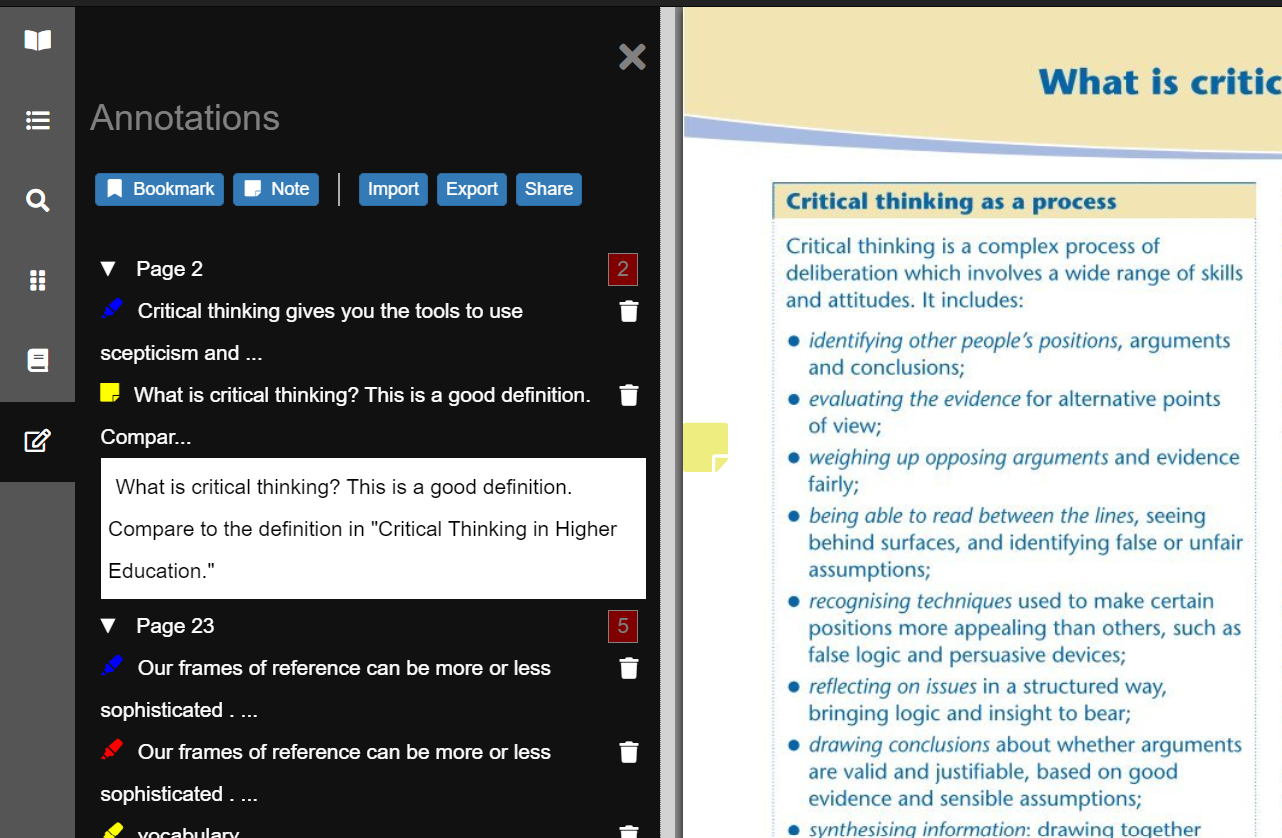 Screenshot of the VLeBooks reader showing the annotations button in the vertical toolbar and the annotations window open showing notes, highlights and bookmarks.
