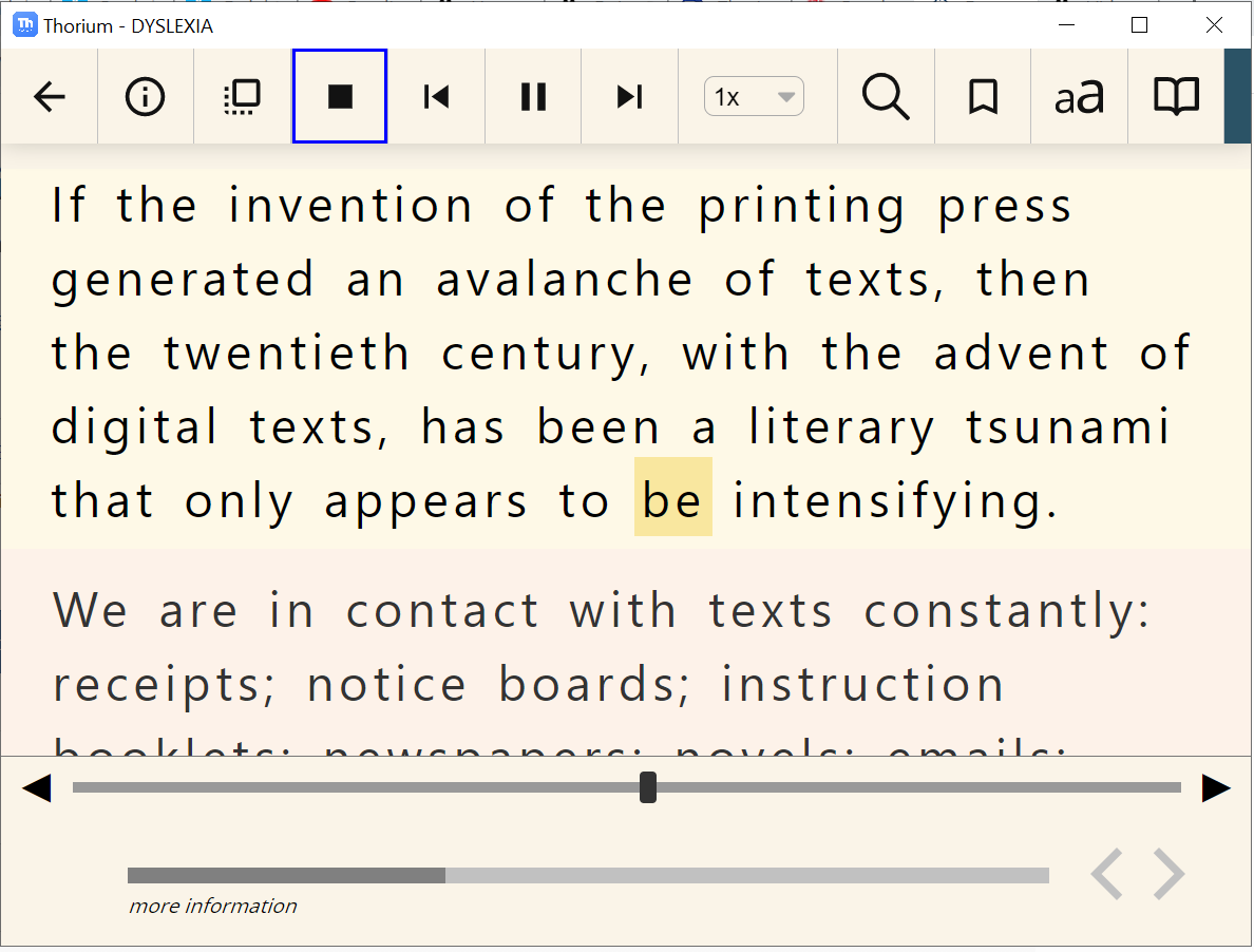 The Thorium Reader interface with an EPUB open with customizations to large text size, sepia colour theme spaced text and san serif font.